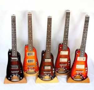 Rambler Professional Electric Traveler Guitars on display