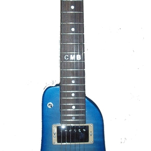 Pearly Blue Custom Rambler Electric Portable Guitar - front view