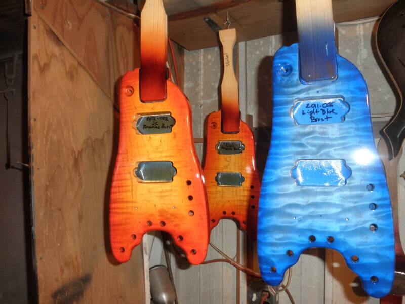 2012 Custom Rambler Travel Guitars in the paint shop