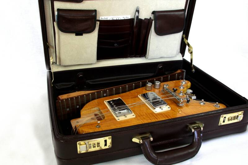 Amber Rambler Travel Guitar in Briefcase