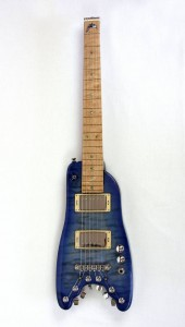 Custom Blue Dolphin Travel Guitar - front view