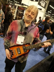 Elliott Randall with his Strobel Travel Guitar at NAMM 2014