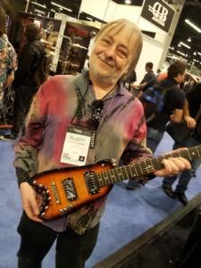 Elliott Randall with his Strobel Rambler® Travel Guitar at NAMM 2014