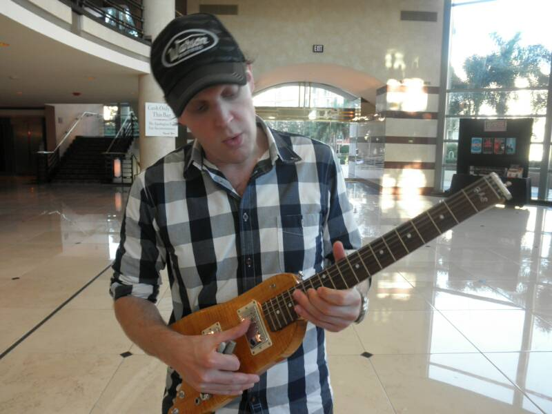 Joe Bonamassa check out a Rambler Travel Guitar
