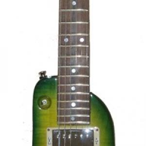 Rambler Custom Green Burst Travel Guitar - front view