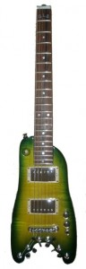 Rambler Custom Green Burst Travel Guitar - front view