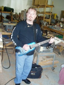 PJ Picking up his custom Pearly Blue Custom Rambler