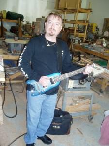 PJ Picking up his custom Pearly Blue Custom Rambler