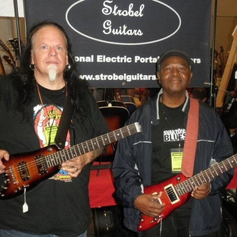 Smokin' Joe with Bnois with thier Rambler Travel Guitars