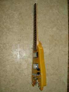 Custom Rambler Travel Guitar - Tele Yellow side view