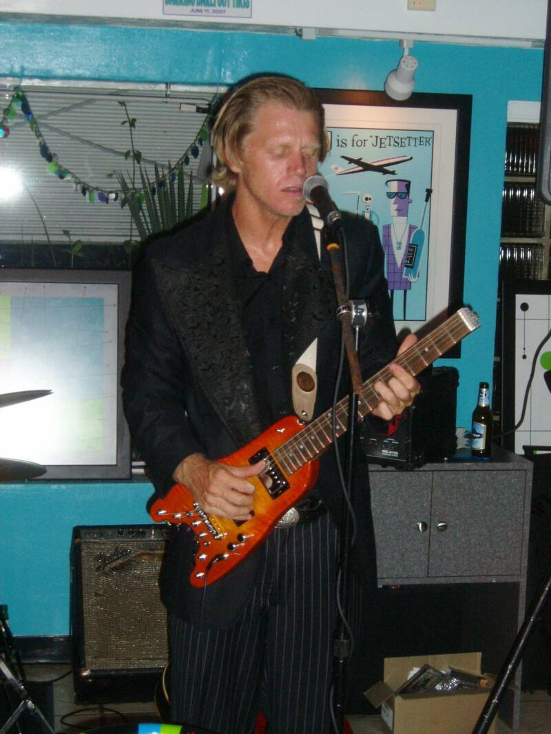 Tim O'Donnell with his Rambler Travel Guitar