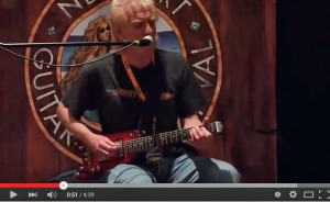 "Roger Heath performs Jimi Hendrix' ""Red House"" on a Strobel Rambler Travel Guitar"