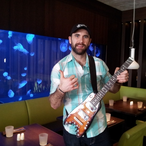 Jay Harrison of Winnepeg Jets with his new Rambler Travel Guitar