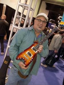 Matt Smith checking out the latest Rambler Travel Guitars at NAMM