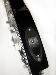 Black STROBELCASTER travel guitar - sideview
