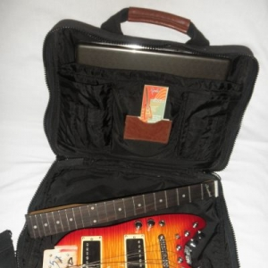Strobel Rambler Travel Guitar in a Computer Bag - Cherry Sunburst