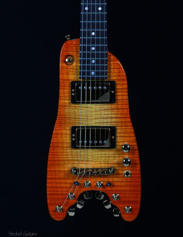 Black pick up rings on Tangerine Burst Custom Rambler Travel Guitar