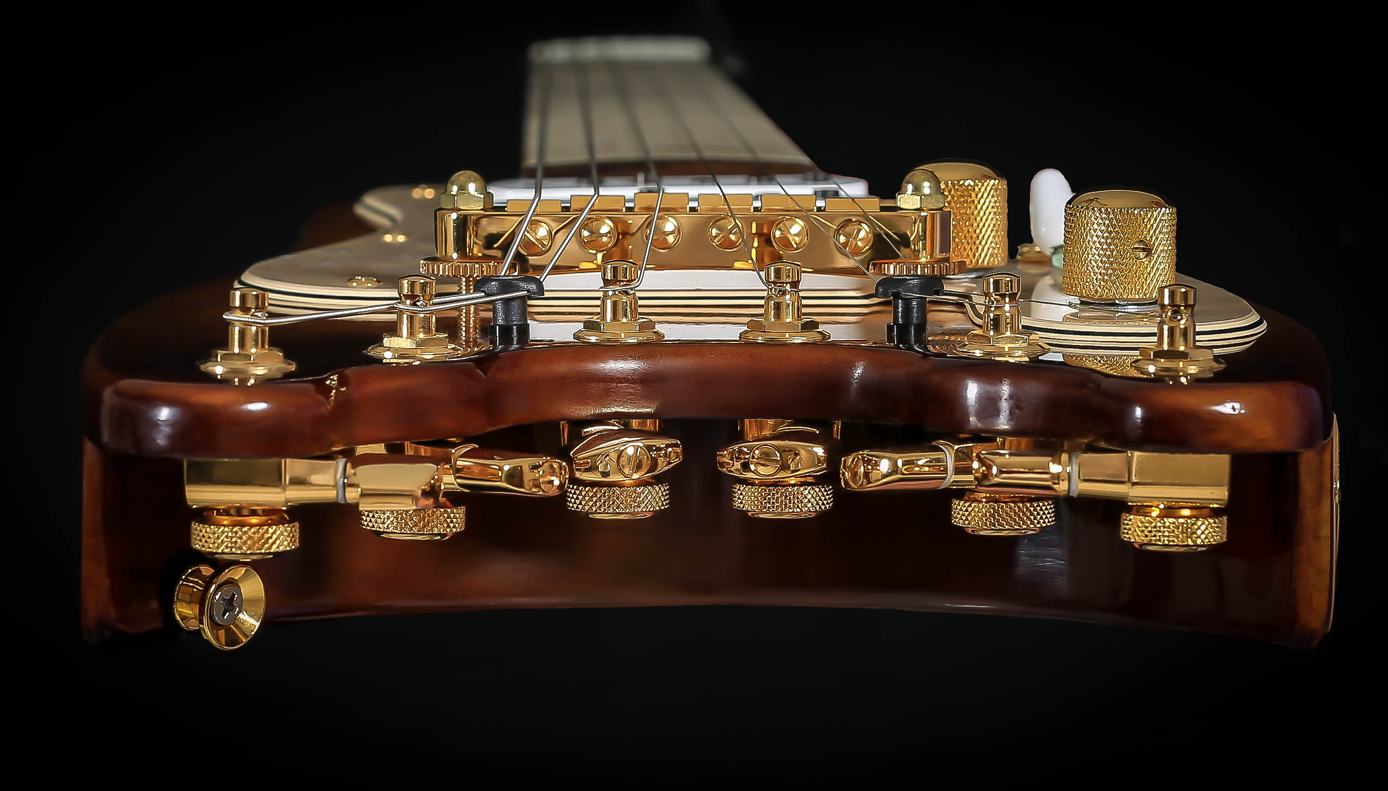 All Gold Hardware on a Custom STROBELCASTER Professional Electric Travel Guitar