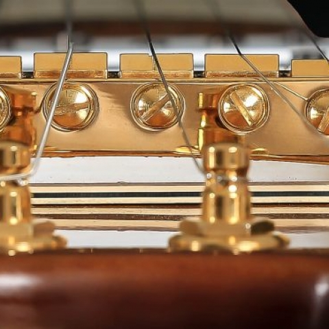 Custom Travel Guitar by STROBEL with gold tuners and bridge from Schaller