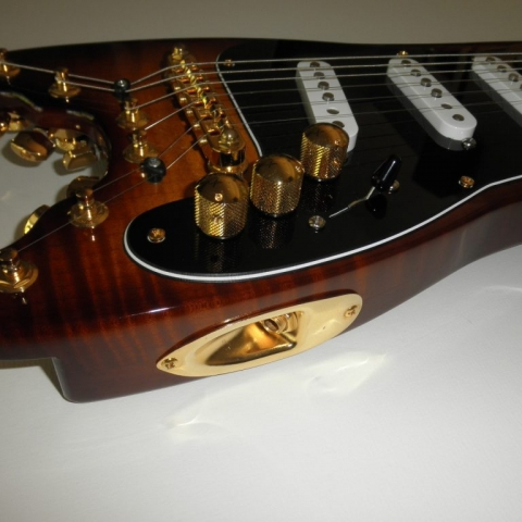 Solid Flamey Maple Body on Custom STROBELCASTER Travel Guitar