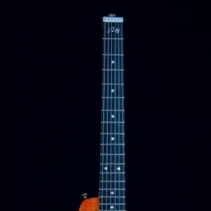 Custom Rambler Electric Travel Guitar Tangerine Burst Ebony Fretboard with Custom Inlay